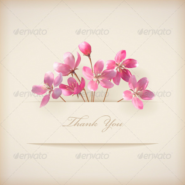 GraphicRiver Thank You Card with Pink Flowers 4339586