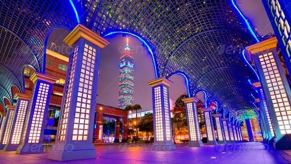 Downtown Taipei, Taiwan Cityscape - Stock Photo - Images