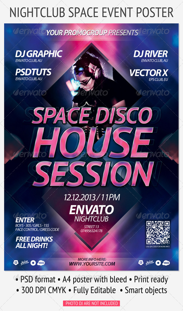 GraphicRiver Nightclub Space Event Poster 4181991