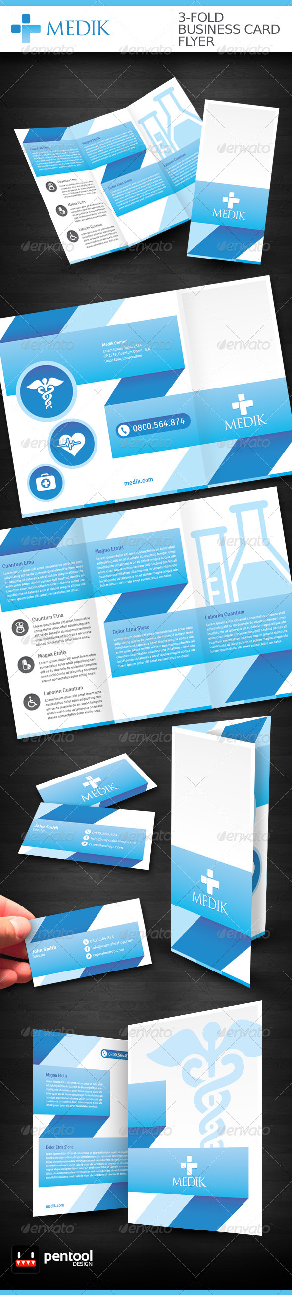 GraphicRiver Medik 3-Fold Business Card Flyer 4340770