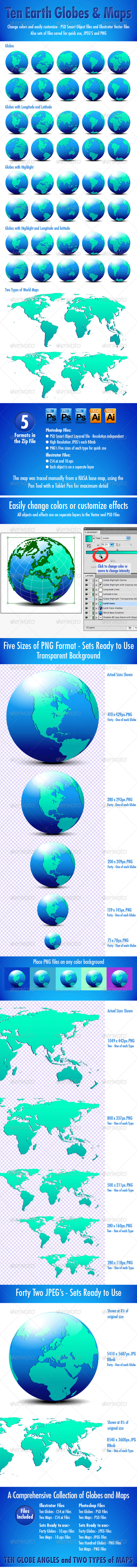 GraphicRiver Globes and World Maps Collection 4340944