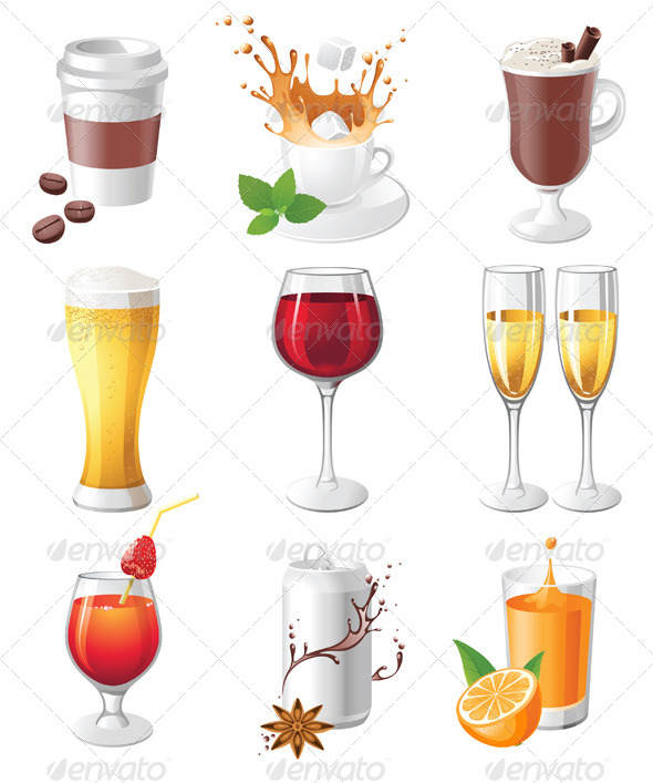 GraphicRiver Drinks Icons 4340945