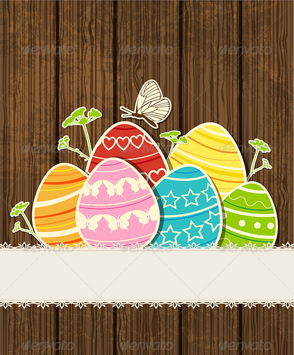 GraphicRiver Wooden Background with Easter Eggs 4341030