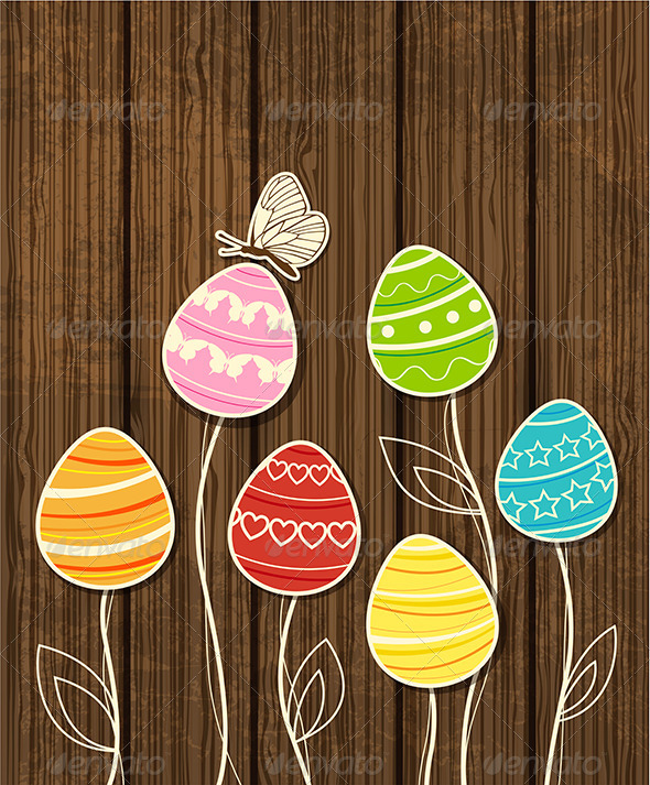 GraphicRiver Easter Background with Eggs and Butterfly 4341067