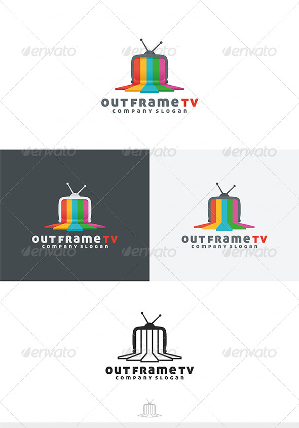 Out Frame TV Logo - Objects Logo Templates