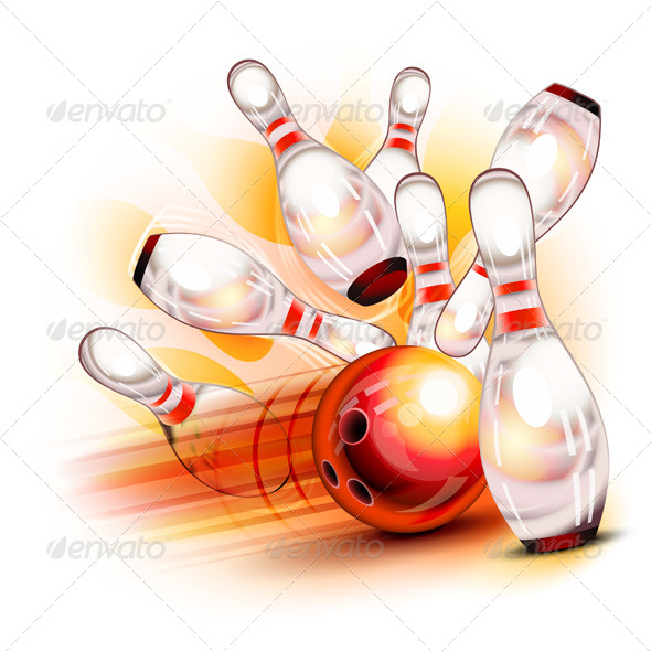 Bowling Ball Crashing into the Shiny Pins - Sports/Activity Conceptual