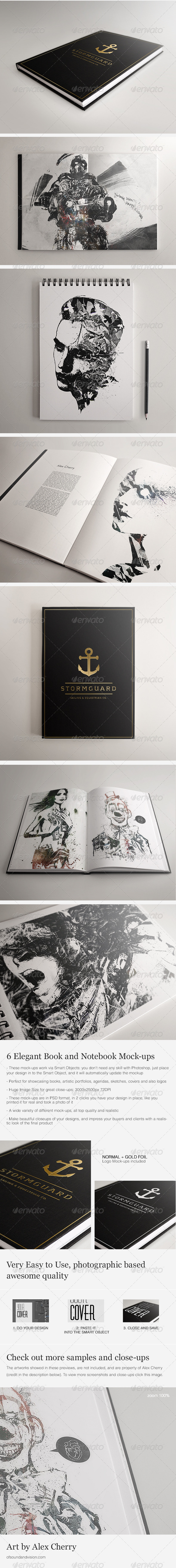 Book and Notebook Elegant Mock-ups - Print Product Mock-Ups