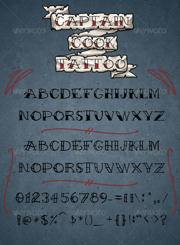 Captain Cook Tattoo Font - Miscellaneous Decorative