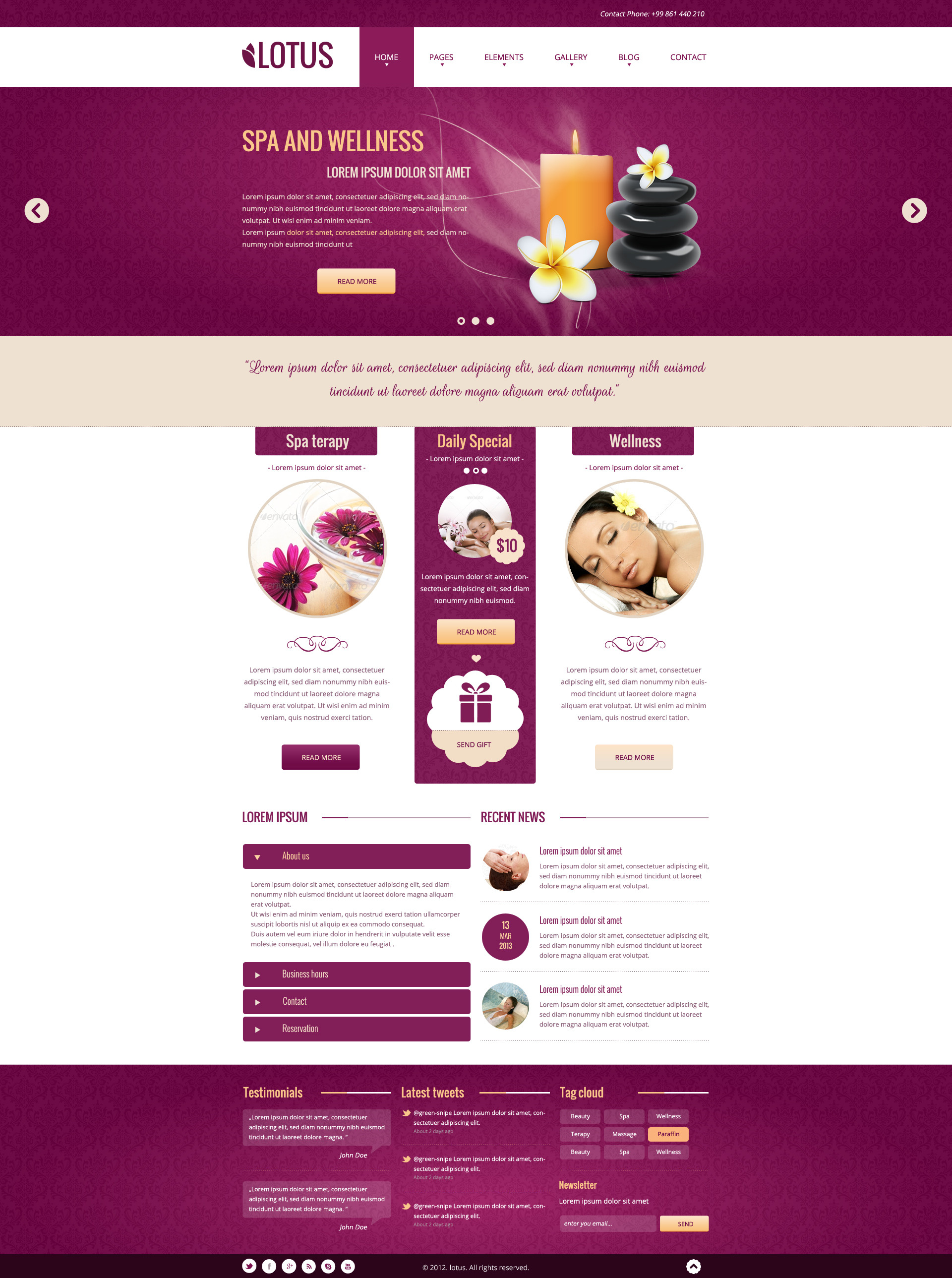 Lotus - Spa & Wellness PSD Template
