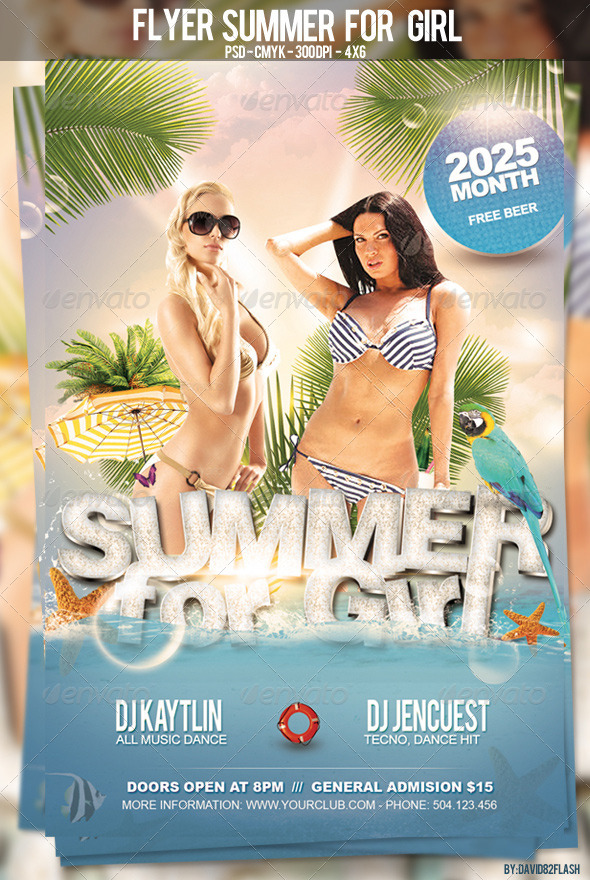 Flyer Summer For Girl - Clubs & Parties Events