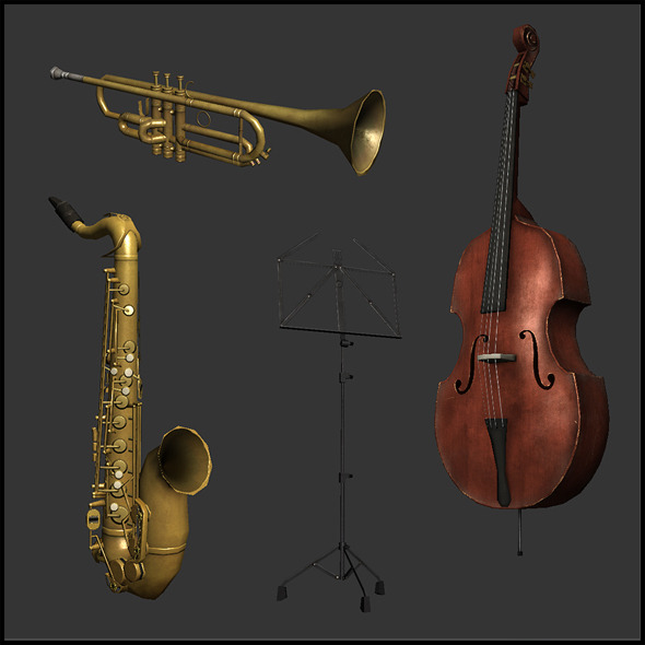 3DOcean Jazz band Instruments 4342406