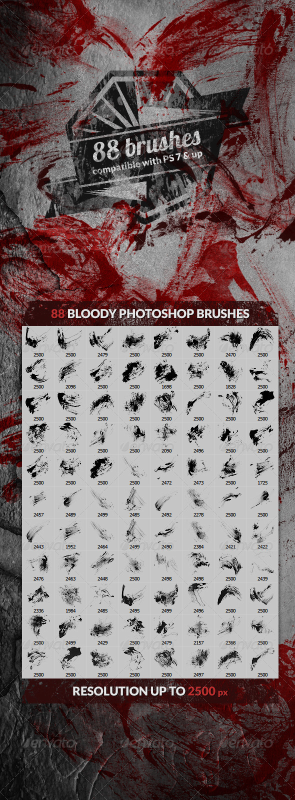 GraphicRiver 88 Bloody Splatters Photoshop Brushes 4343198