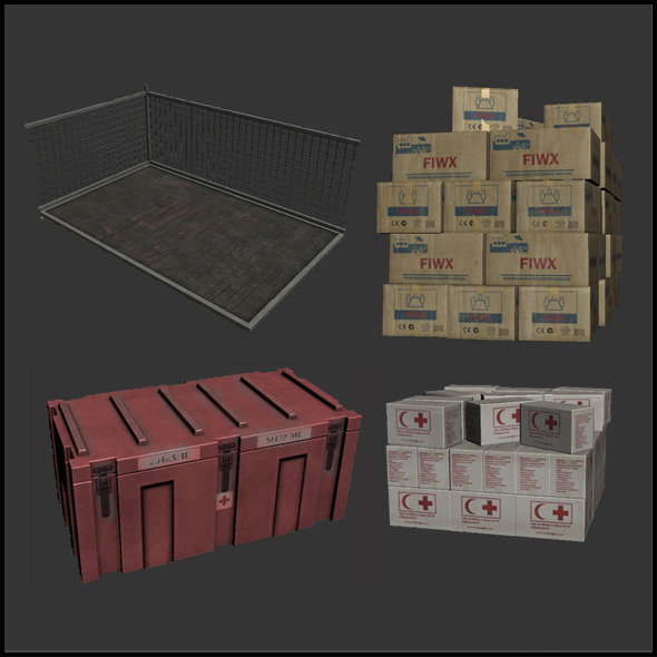 3DOcean Relief Supply Boxes 4343234