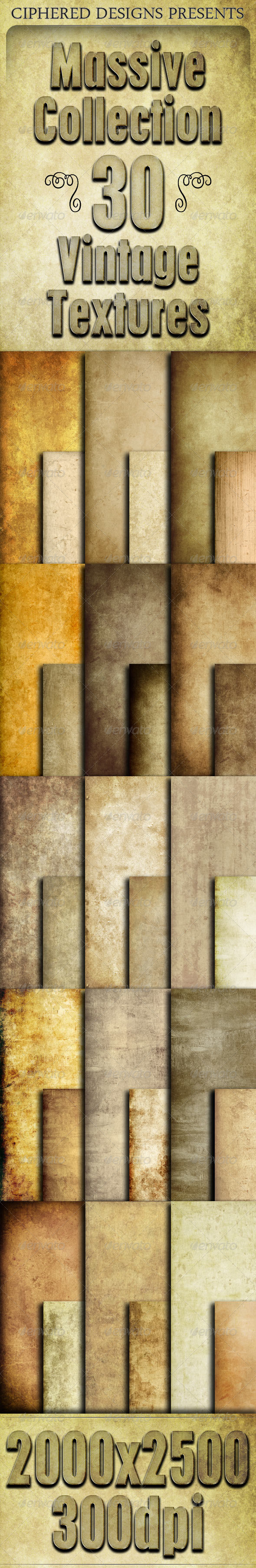 GraphicRiver Massive Collection 30 Vintage Textures 4277334
