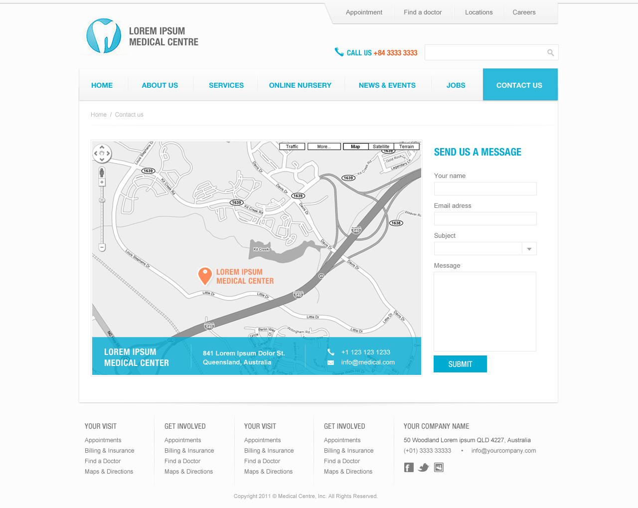 eBlue Medical Dentist Site Template