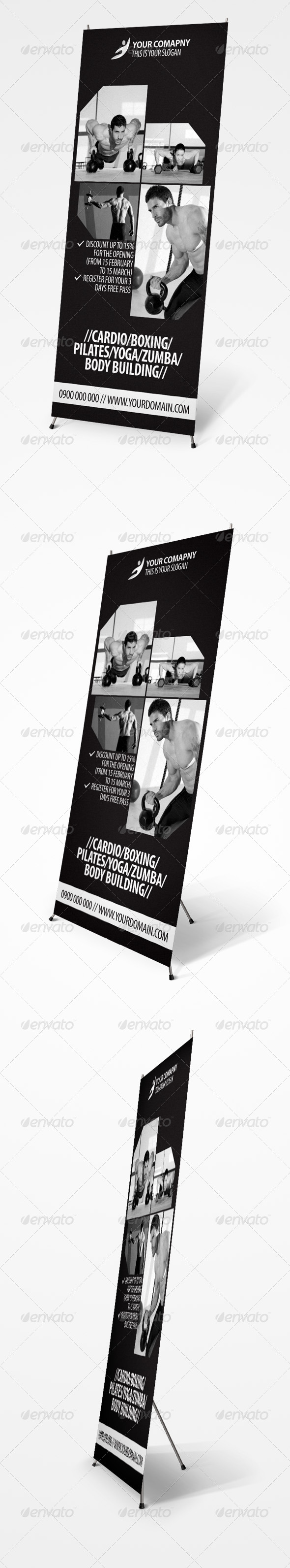 GraphicRiver Fitness Center Roll-up Banner 4234504