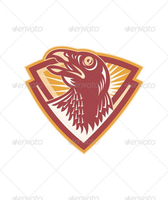 GraphicRiver Hawk Head Shield Retro 4344911