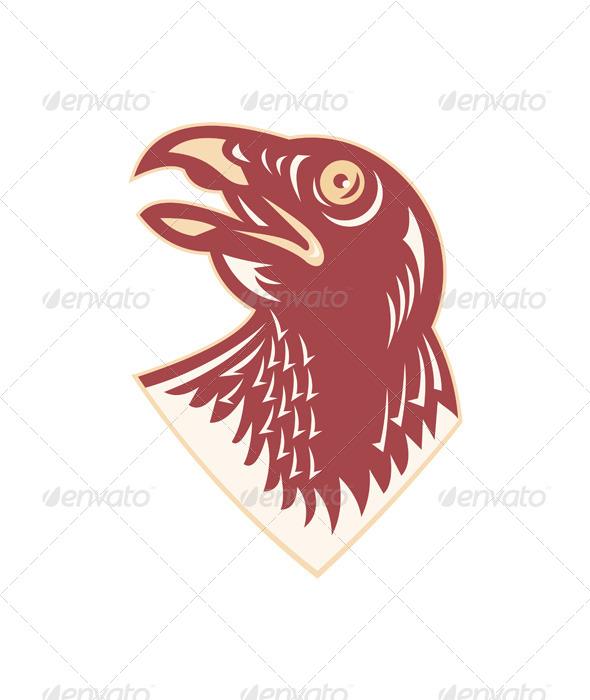 GraphicRiver Hawk Head Looking Up Retro 4344914