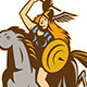 Valkyrie Riding Horse Retro - GraphicRiver Item for Sale