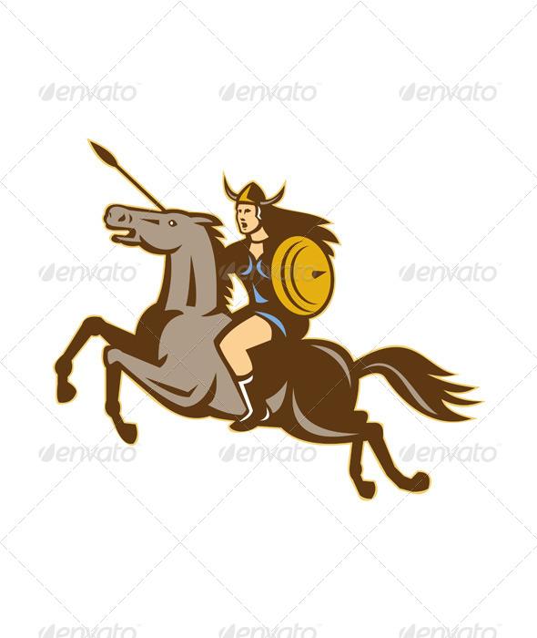 GraphicRiver Valkyrie Riding Horse Retro 4345107