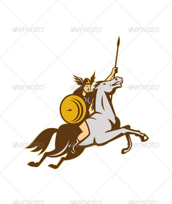 GraphicRiver Valkyrie Riding Horse Retro 4345186