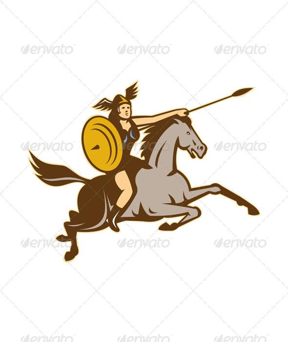 GraphicRiver Valkyrie Riding Horse Retro 4345250