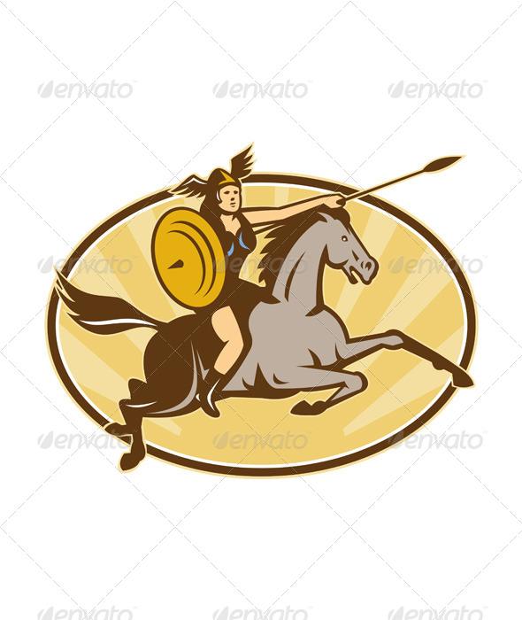 GraphicRiver Valkyrie Riding Horse Retro 4345254