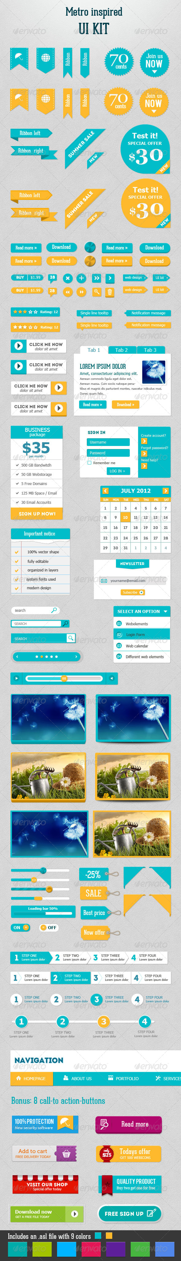GraphicRiver Metro Inspired UI Kit 4345307