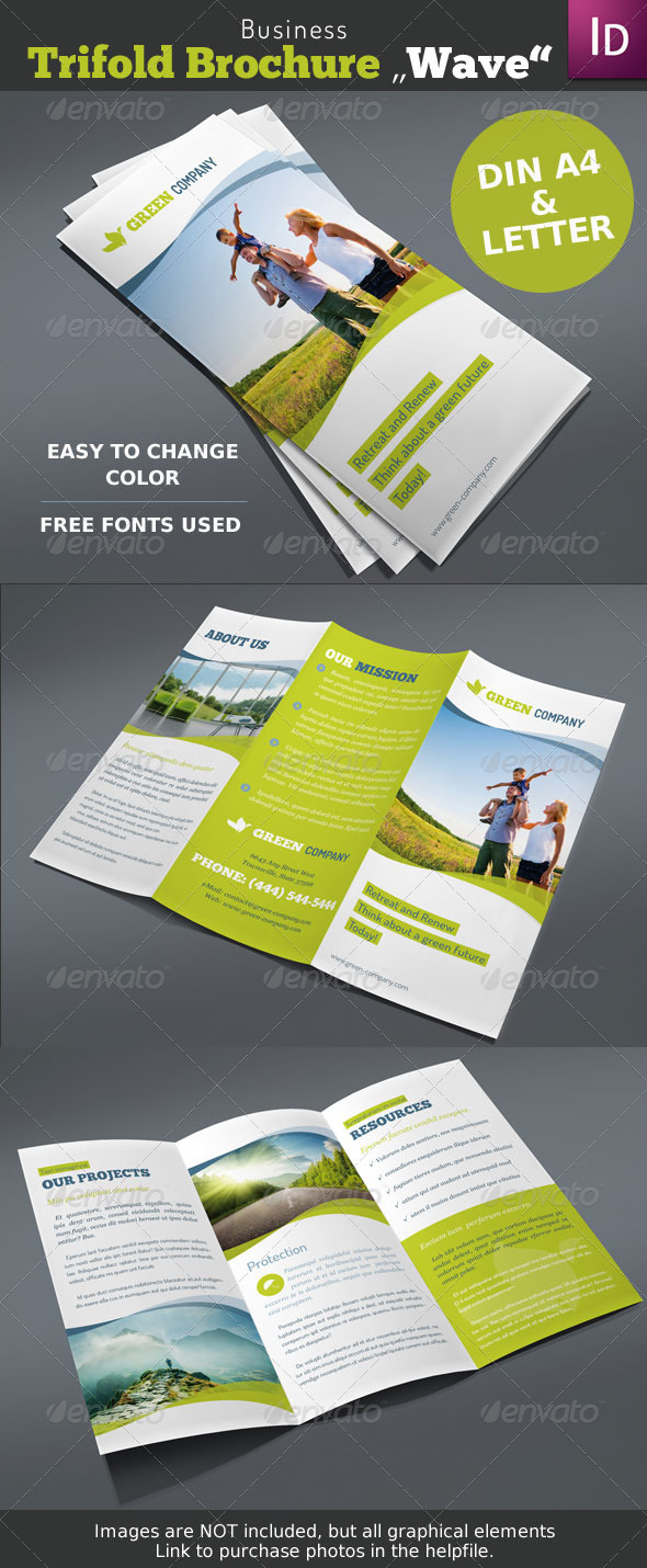 GraphicRiver Business Trifold Brochure Wave 4206866