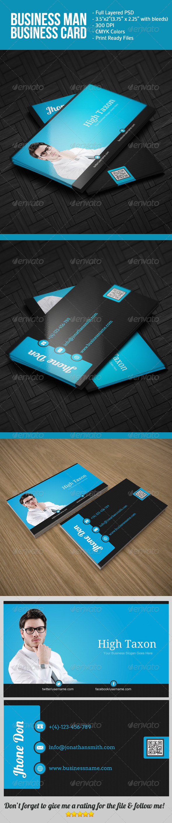 Business Man BusinessCard - Corporate Business Cards
