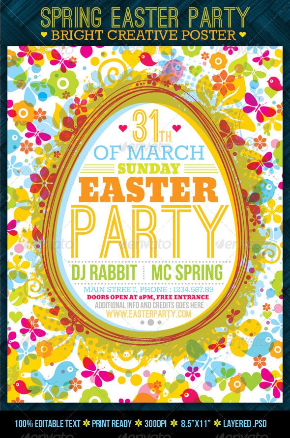 GraphicRiver Fresh Spring Easter Party Creative Poster 4347993