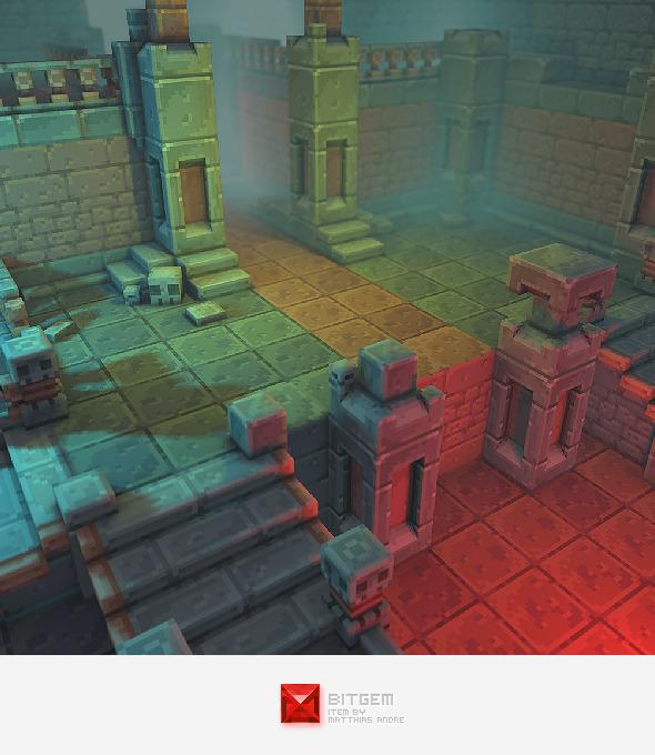 3DOcean Low Poly 3D Pixel Dungeon Set 01 4348020