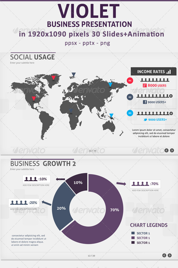 GraphicRiver Violet Business presentation 4299071