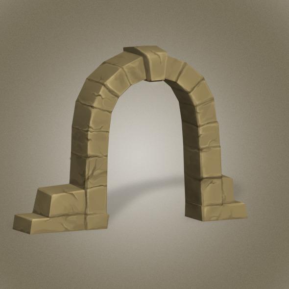 Door Stone Low Poly - 3DOcean Item for Sale