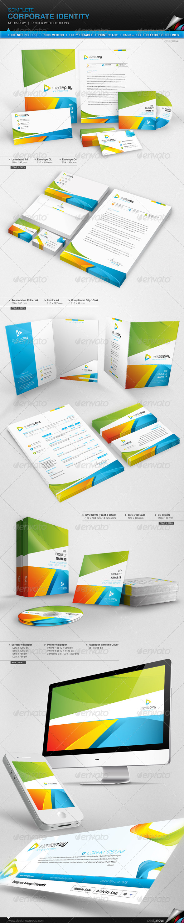 Corporate Identity - Media Play - Stationery Print Templates