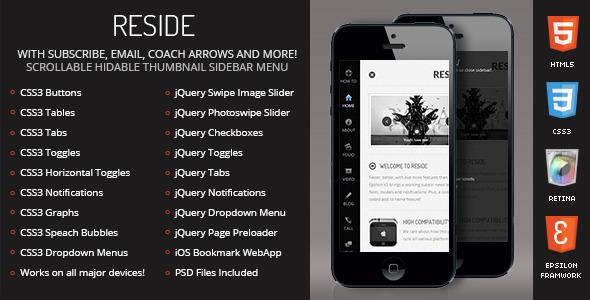 Reside Mobile Retina | HTML5 & CSS3 And iWebApp