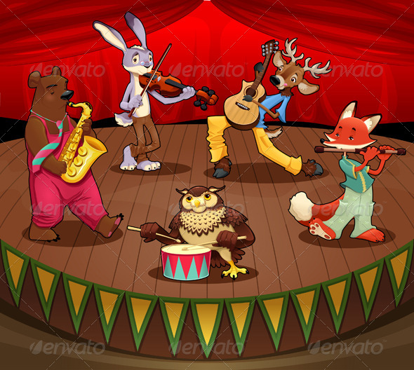 GraphicRiver Musician Animals on Stage 4348901