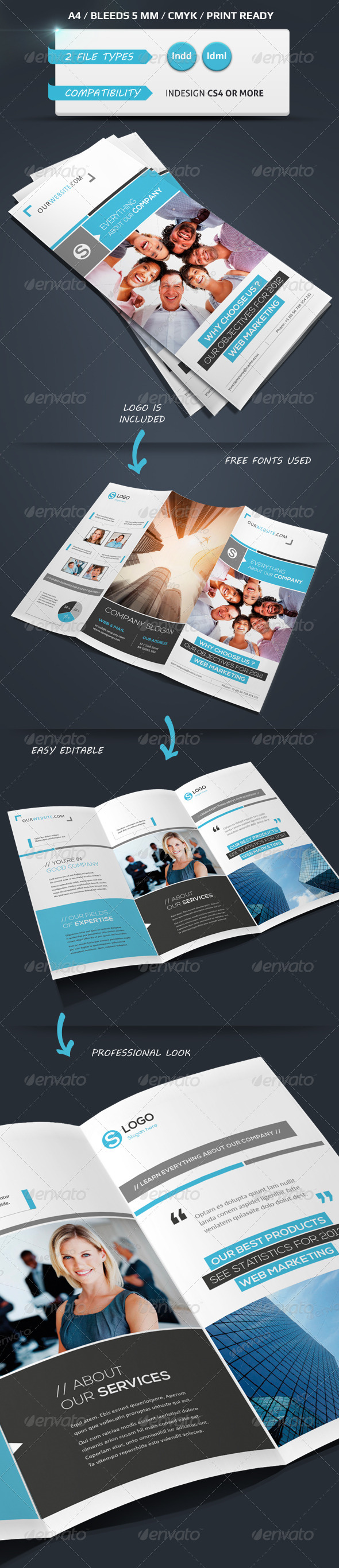 GraphicRiver Modern & Corporate Trifold Brochure A4 4349691