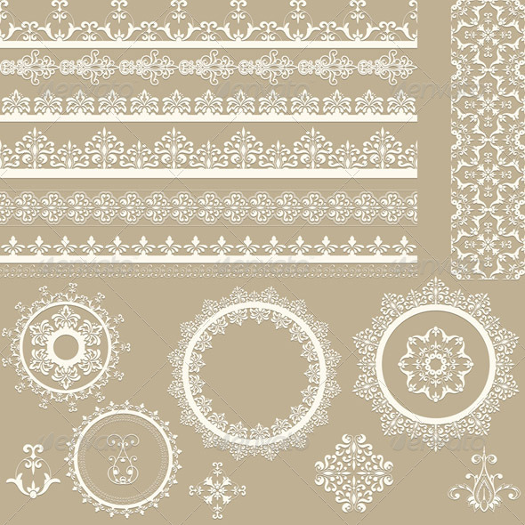 GraphicRiver Lacy Ribbons Napkins and Design Elements 4350050