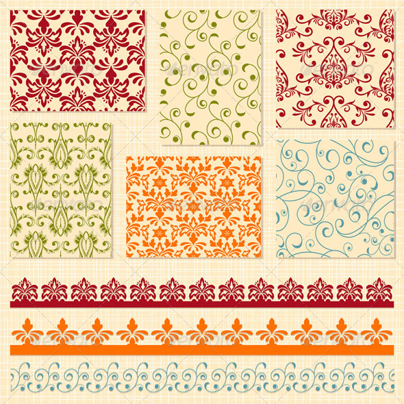 GraphicRiver Seamless Floral Patterns and Lacy Ribbons 4350154