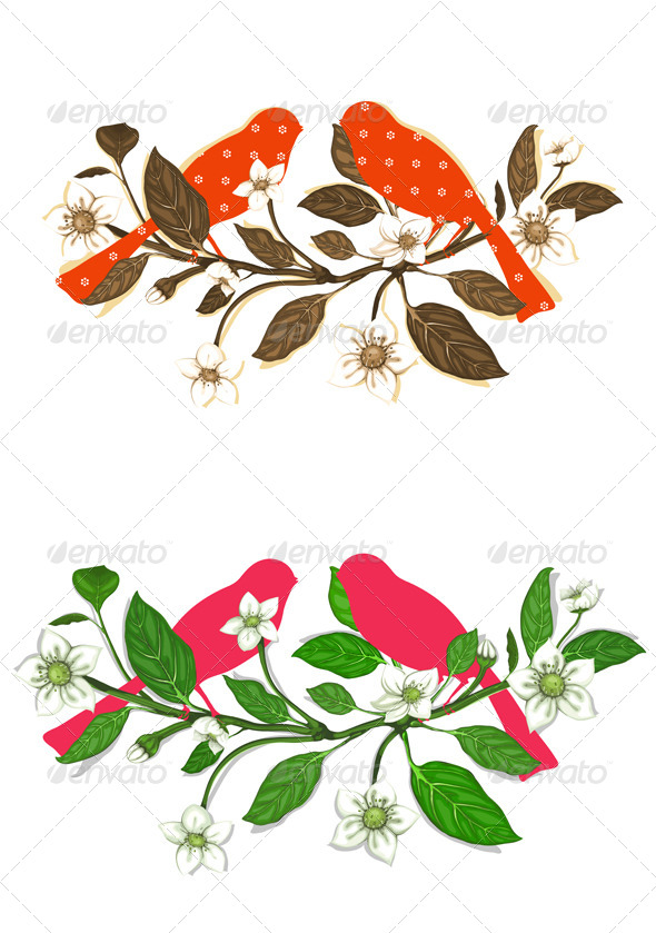 GraphicRiver White Flowers and Red Birds on Twig Composition 4350166