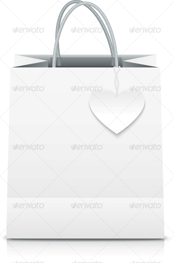 GraphicRiver White Paper Vector Shopping Bag with Heart Label 4350172