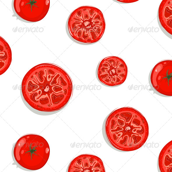 GraphicRiver Tomato Slices Seamless Pattern Background 4350280