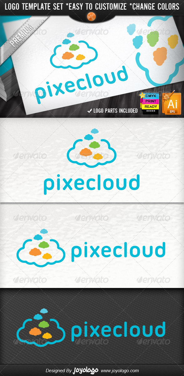 GraphicRiver Creative Pixel Clouds Application Logo Template 4350391