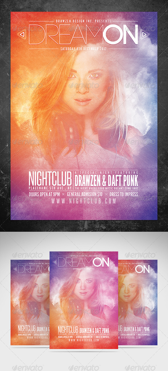 Dream On Flyer Template - Clubs & Parties Events
