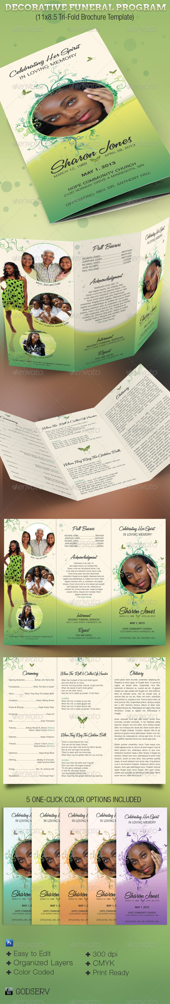 Decorative Tri-Fold Funeral Program - Informational Brochures