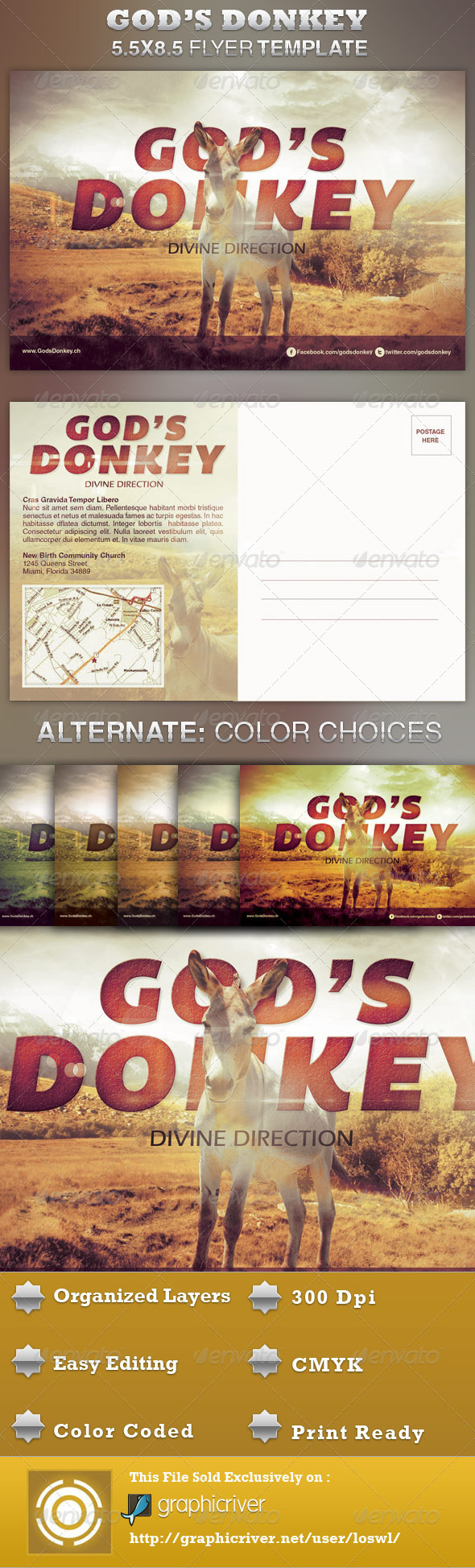 God's Donkey Church Flyer Template - Church Flyers