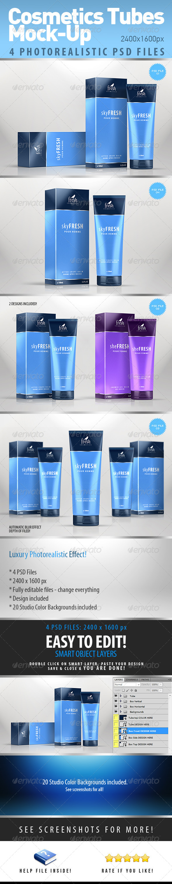 Cosmetics Photorealistic Tubes Mock-Up - Miscellaneous Product Mock-Ups