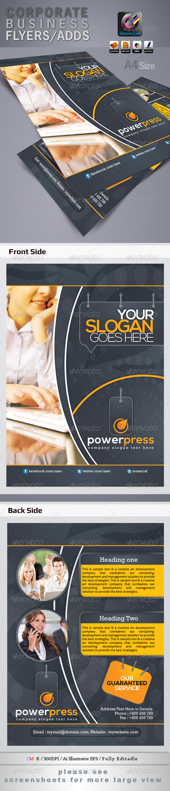GraphicRiver Power Press Corporate Business Flyers Adds 4208811