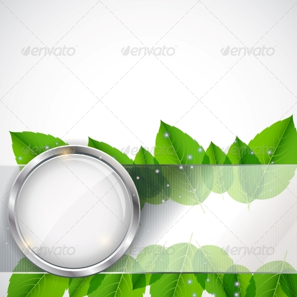 Abstract Background with Leaves and Glass Frame